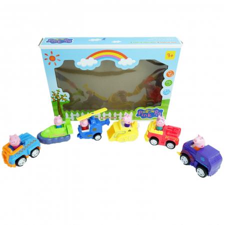 Set de joaca 6 figurine Peppa Pig in masinute [1]