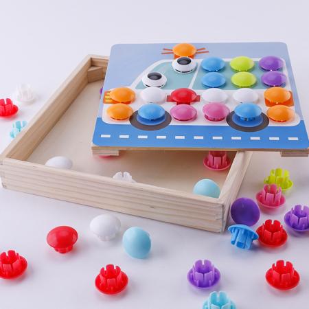 Joc mozaic lemn Wisdom Cool, 10 planse, 50 de butoni, albastru [2]
