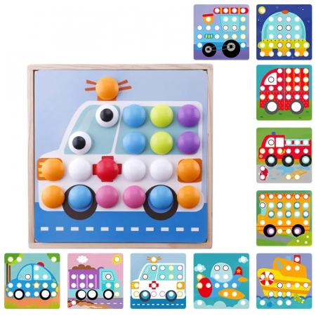 Joc mozaic lemn Wisdom Cool, 10 planse, 50 de butoni, albastru [0]