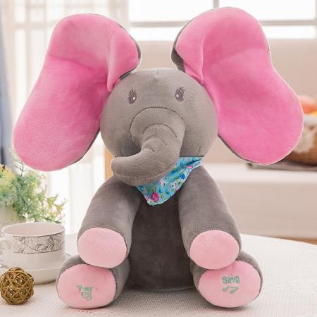 Jucarie interactiva Elefant Peek a Boo, 30 cm, gri [2]