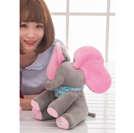 Jucarie interactiva Elefant Peek a Boo, 30 cm, gri [1]