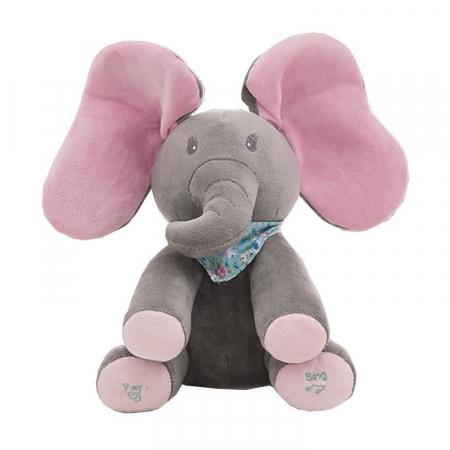 Jucarie interactiva Elefant Peek a Boo, 30 cm, gri [0]