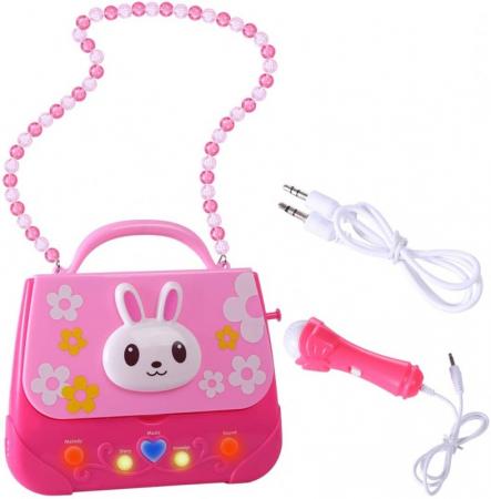 Microfon de jucarie portabil cu gentuta Boombox, roz [5]