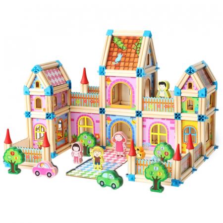 Set de constructie din lemn, Micul Arhitect, 268 piese, multicolor [0]