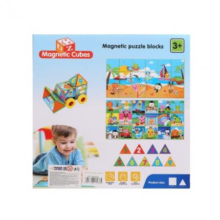 Joc constructiI magnetice si puzzle Magnetic Cubes, 40 piese, multicolor [3]