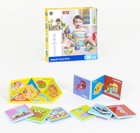 Joc constructiI magnetice si puzzle Magnetic Cubes, 18 piese, multicolor [0]