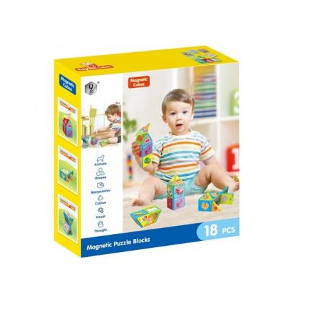 Joc constructiI magnetice si puzzle Magnetic Cubes, 18 piese, multicolor [1]