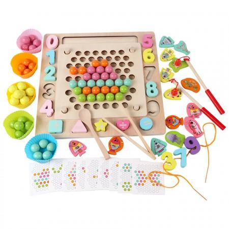 Joc Montessori de indemanare Fishing Beads 4 in 1, multicolor [5]