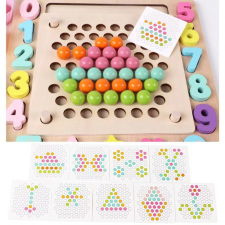 Joc Montessori de indemanare Fishing Beads 4 in 1, multicolor [4]