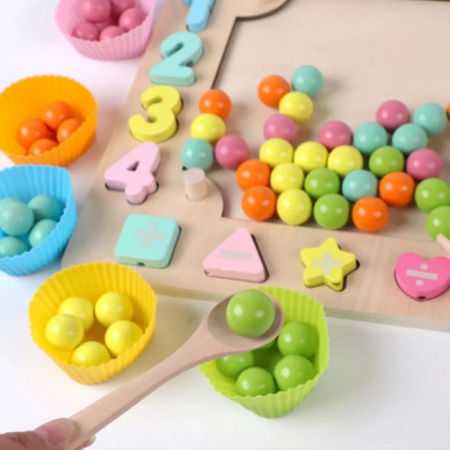 Joc Montessori de indemanare Fishing Beads 4 in 1, multicolor [2]