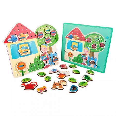 Joc Montessori de snuruit si insirat Casuta cu Copac, 26 piese [4]