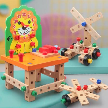 Scaun Montessori din lemn cu diferite modele de asamblare, multicolor [0]