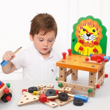 Scaun Montessori din lemn cu diferite modele de asamblare, multicolor [3]