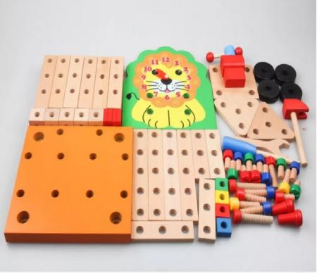 Scaun Montessori din lemn cu diferite modele de asamblare, multicolor [2]