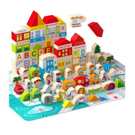 Set cuburi lemn Oraselul City Blocks, 100 piese [0]