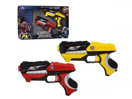 Set 2 Pistoale Space Blaster, gloante cu ventuze din spuma, multicolor [0]
