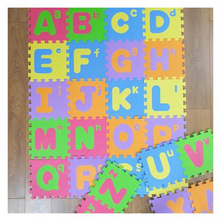 Covoras de joaca puzzle termic si educativ Alfabet, 26 piese, 30x30 cm, multicolor [0]