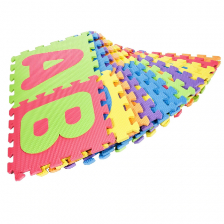 Covoras de joaca Puzzle termic si educativ Alfabet, 26 piese, 28.5x28.5 cm, multicolor [2]