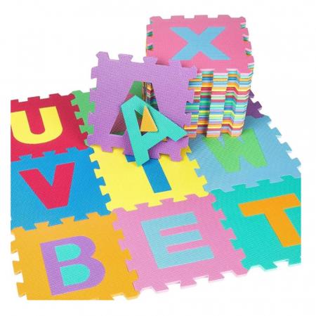 Covoras de joaca Puzzle termic si educativ Alfabet, 26 piese, 28.5x28.5 cm, multicolor [0]