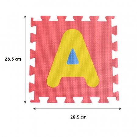 Covoras de joaca Puzzle termic si educativ Alfabet, 26 piese, 28.5x28.5 cm, multicolor [3]