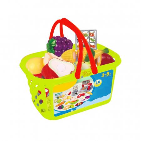 Set jucarii pentru copii cos cu fructe si legume de taiat, Super Market, 18 piese [0]