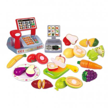 Set jucarii pentru copii cos cu fructe si legume de taiat, Super Market, 18 piese [1]
