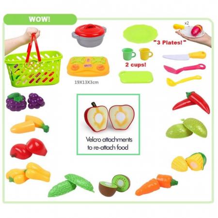 Set jucarii pentru copii cos cu fructe si legume de taiat, Super Market, 20 piese [2]