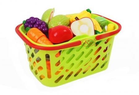 Set jucarii pentru copii cos cu fructe si legume de taiat, Super Market, 20 piese [4]