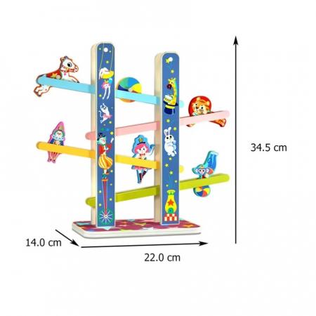 Casada Acrobatilor Jucarie din lemn, Pista cu etaje, multicolor [3]