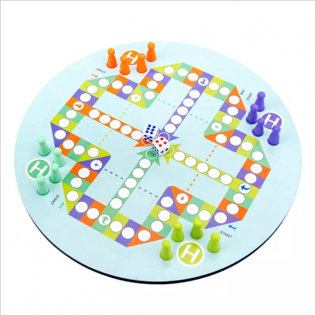Ceas multifuncional din lemn cu doua fete, games, chess, fishing beads, multicolor [3]