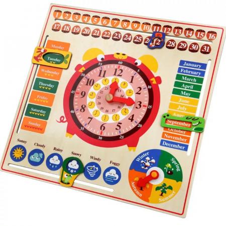 Jucarie educativa din lemn Montessori ,calendar, ceas, anotimpuri, lunile anului, Multicolor [0]