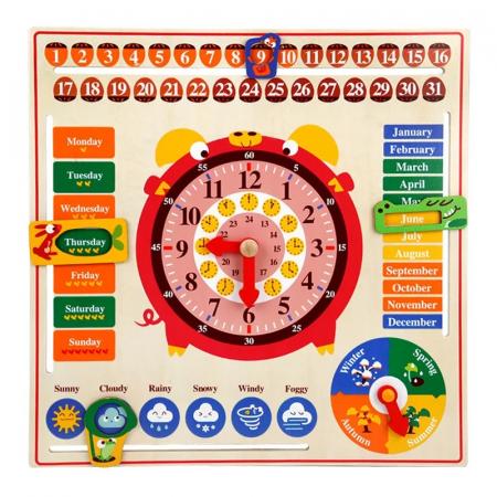 Jucarie educativa din lemn Montessori ,calendar, ceas, anotimpuri, lunile anului, Multicolor [2]