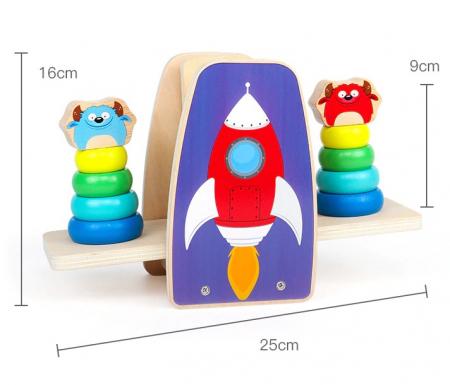 Balanta din lemn Aerospace Jenga cu cerculete colorate, multicolor [2]