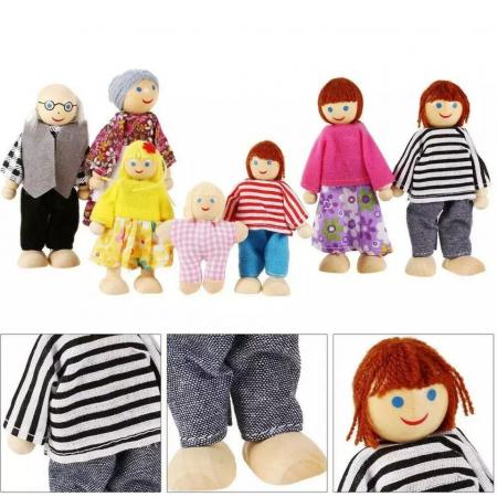Set 6 papusi din lemn, Familia Puppet, multicolor [4]