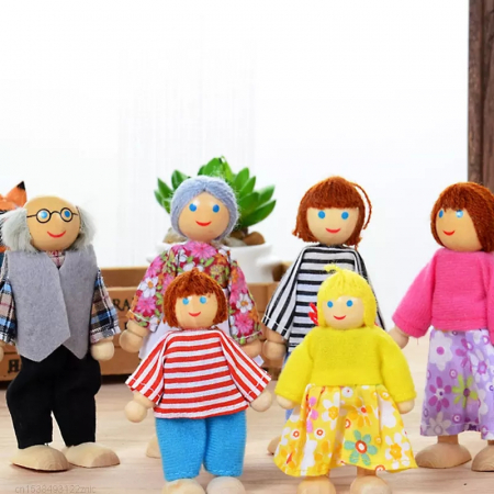 Set 6 papusi din lemn, Familia Puppet, multicolor [0]