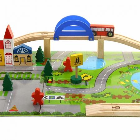 Circuit din lemn Rail Overpass cu masinute si covoras puzzle, Toyska [0]