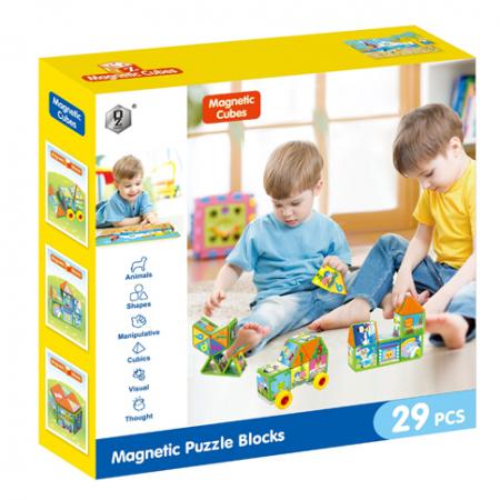 Joc constructiI magnetice si puzzle Magnetic Cubes 29 piese [5]