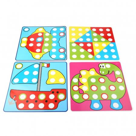 Joc creativ mozaic Genius Art, 24 cartonase, 50 de butoni, Toyska [1]