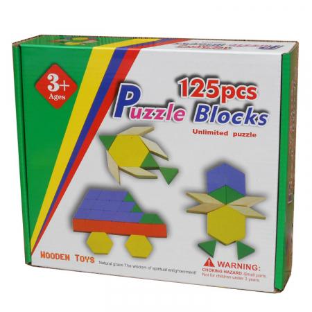 Joc educativ Tangram 125 piese din lemn, multicolor [0]