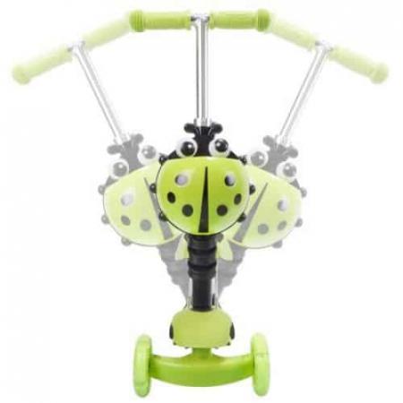 Trotineta 5 in 1 cu maner de impins si roti cu lumini Scooter OX11, verde [1]