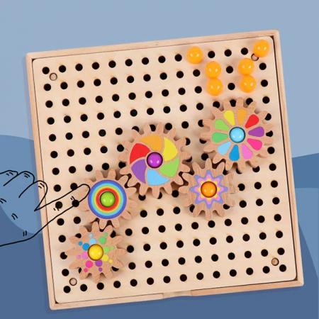 Joc de creatie tip mozaic pixel din lemn cu pini peg, multicolor, 200 piese [4]
