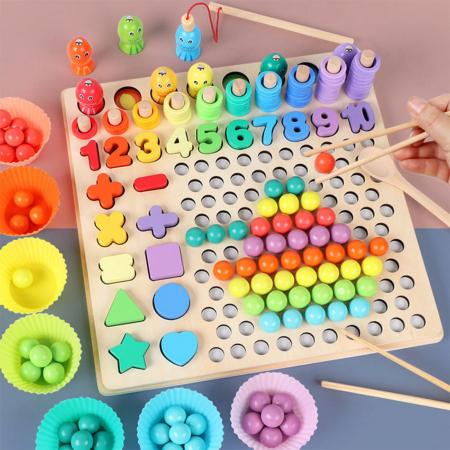 Joc lemn 6 in 1 cu cifre, forme geometrice, logaritmic cu stivuire piese, pescuit magnetic, indemanare si sortare [1]