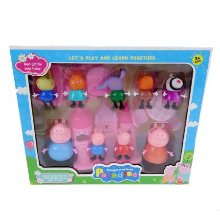 Set figurine Peppa Pig cu castel, 9 figurine, 7 cm, multicolor [0]