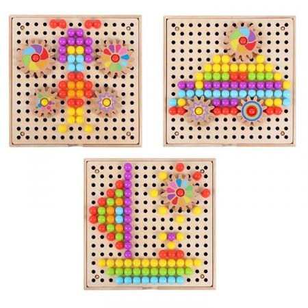 Joc de creatie tip mozaic pixel din lemn cu pini peg, multicolor, 200 piese [3]
