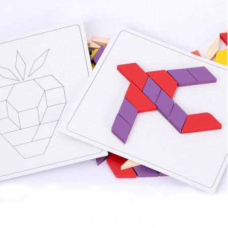 Joc educativ, Tangram din lemn, Joc asiatic cu 250 piese geometrice multicolore [4]
