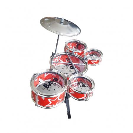 Set de tobe pentru copii Jazz Drum, cu scaunel, rosu [5]
