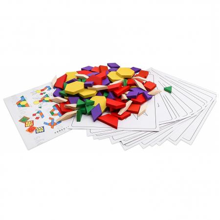 Joc educativ, Tangram din lemn, Joc asiatic cu 250 piese geometrice multicolore [0]