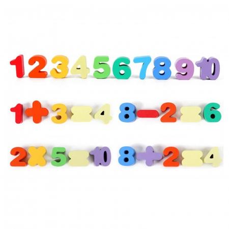 Joc lemn 6 in 1 cu cifre, forme geometrice, logaritmic cu stivuire piese, pescuit magnetic, indemanare si sortare [7]