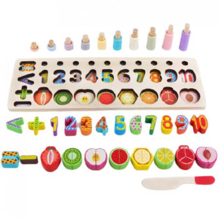 Jucarie educativa, interactiva, din lemn, cu numere si forme, Montessori, E00056 [0]