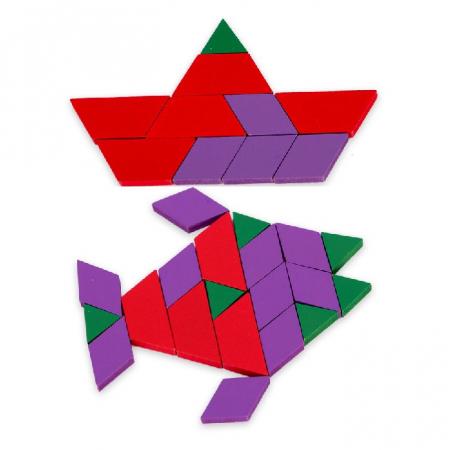 Joc educativ, Tangram din lemn, Joc asiatic cu 250 piese geometrice multicolore [1]